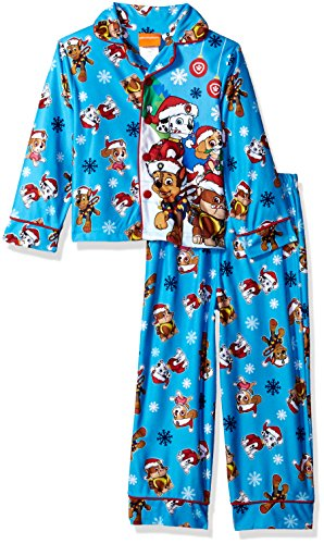 Nickelodeon Little Boys' Paw Patrol Holiday 2-Piece Pajama Coat Set, Holiday Chill, 4