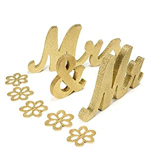 Haperlare Vintage Style Gold Mr and Mrs Sign Mr & Mrs Wooden Letters Wedding Sweetheart Table Sign with Gold Glitter…