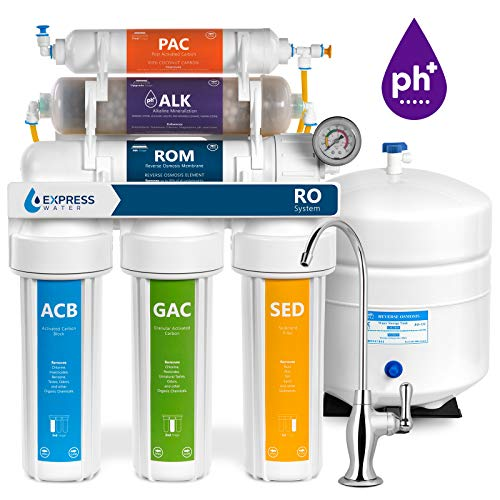 (Express Water Alkaline Reverse Osmosis Filtration System - 10 Stage RO Mineralizing Water Filter - Mineral, Antioxidant, pH + - Under Sink Purifier with Remineralization - 100 GPD with Pressure Gauge )