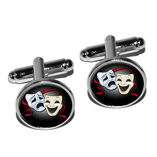 Drama Comedy Tragedy Masks - Acting Theatre Theater Round Cufflink Set - Silver ()