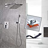 8 rain shower head with handheld - Votamuta Rain Shower Systems Wall Mounted Shower Combo Set with High Pressure 8 Inch Square Rain Shower Head and Handheld Shower Faucet Set,Chrome Finish