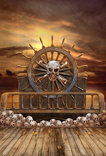 5X7FT Laeacco Halloween Backdrop Vinyl Backdrop Photography Background Wooden Wheel Pirate Ship Skulls Horror Night Backdrop Photo Studio Props -