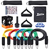 Ketia 11 Pcs Tube Resistance Bands Set,Door Anchor Attachment, Foam Handle, Ankle Straps, Resistance Exercise,Exercise Tube Bands for Body Shaping, Training, Physical Therapy- 100% Life Time Guarantee