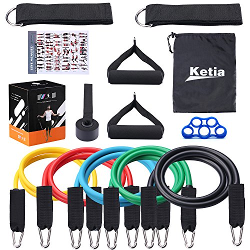 Ketia 11 Pcs Tube Resistance Bands Set,Door Anchor Attachment, Foam Handle, Ankle Straps, Resistance Exercise,Exercise Tube Bands for Body Shaping, Training, Physical Therapy- 100% Life Time Guarantee by Ketia