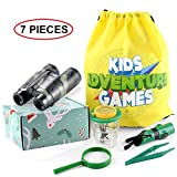 Outdoor Exploration Kit for Kids, Kidz Adventure Kits with Binoculars Insect Viewer Flashlight Compass Whistle Magnifying Glass Tweezer, Backpack (Green)