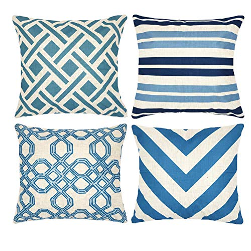 Munzong Set of 4 New Living Blue Stripes Throw Pillow Covers 18