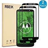 RBEIK Moto G6 Plus Screen Protector Glass Full Cover - [2 Pack] 9H Hardness Full Coverage Bubble Free Tempered Glass Screen Protector for Lenovo Motorola Moto G6 Plus 5.9-Inch Smartphone, Black