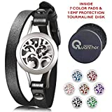 2 in 1 Essential Oil Diffuser Bracelet + EMF Protection Tourmaline DISK, Stainless Steel Aromatherapy Bracelet with 7 Color Pads and Leather Band! Healing Stones Anti Radiation Women Jewelry Gift