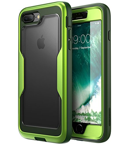 i-Blason iPhone 8 Plus Case, iPhone 7 Plus case, [Heavy Duty Protection] [Magma Series] Shock Reduction/Full Body Bumper Case with Built-in Screen Protector for iPhone 8 Plus 2017 (MetallicGreen)