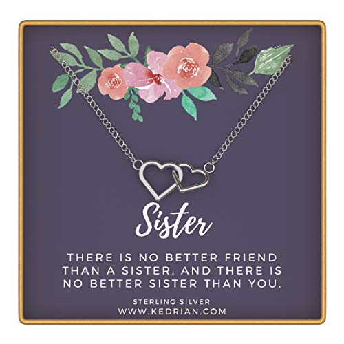 KEDRIAN Sister Necklace, 925 Sterling Silver Interlocking Hearts Necklace, Big Sister Gifts, Sister Gifts from Sister, Sister Necklace, Sister Birthday Gifts, Sisters Gifts, Gift for Sister