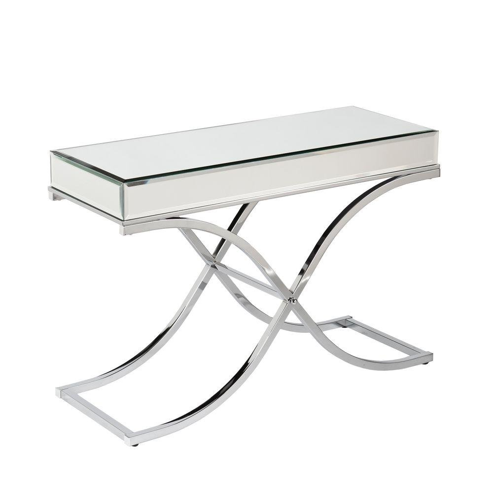Southern Enterprises Alice Chrome Mirrored Console Table