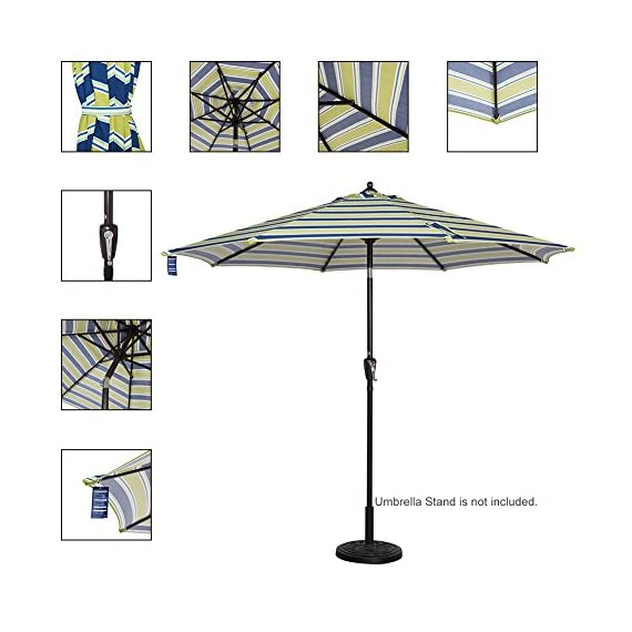 Sundale Outdoor 10 ft FadeSafe Olefin Fabric Patio Market Table Umbrella with Crank and Auto Tilt for Garden, Deck, Backyard, Pool, Solution Dyed and UV Resistant (Blue and Green Stripe) - ★ Convenient crank opens/closes system and auto tilt, even easy to use for kids and the elderly. Keep the sun at the back. ★ 1.5in diameter rust-free bronze aluminum pole and 8 aluminum ribs provide stronger support than standard round poles. Air vented top enhances umbrella stability. ★ 100% Olefin Fabric Canopy gives efficient protection with 2-year warranty: sun-proof, UV blocking, water-repellent and anti-fade capability. Enjoy warm weather without getting burned. - shades-parasols, patio-furniture, patio - 513NZF7UUPL. SS570  -