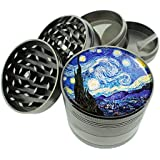 "Vincent Van Gogh Starry Night Titanium 4 PC Magnetic Grinder 2.1"" Hand Mueller D-141"