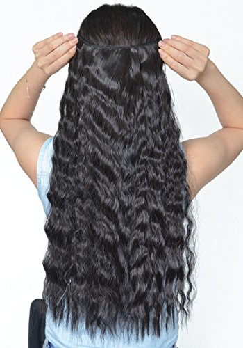 Natural Black 22 Inches Long Corn Wave Curly/Wavy One Piece Clip in Hair Extensions (3/4 Full Head) Clip Ins Hairpiece for Women Lady Girl