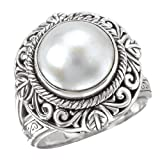 925 Silver & Mabe Cultured Pearl Intricate Scroll Ring- Size 6