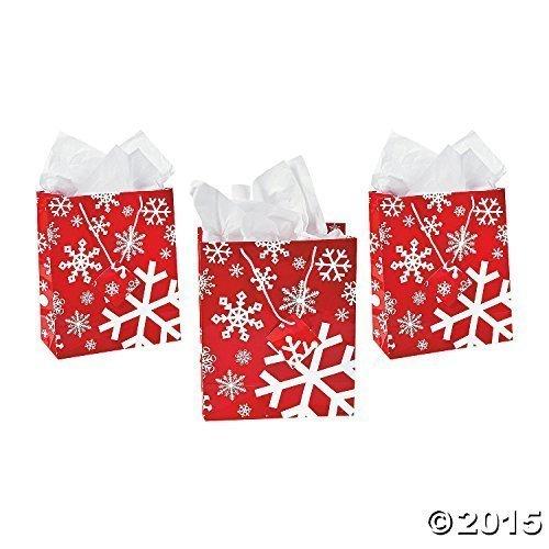 Red & White Snowflake Gift Bags (1 Dozen)]()