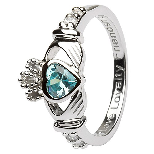 MARCH Birth Month Silver Claddagh Ring LS-SL90-3 - Size: 9 Made in Ireland.