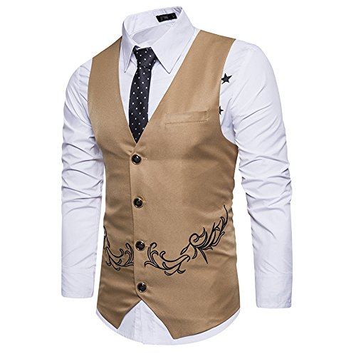 MAGE MALE Mens Suit Vest Tailored Formal Business Single Breasted Golden Pattern Dress - Single Coat Tailored Breasted