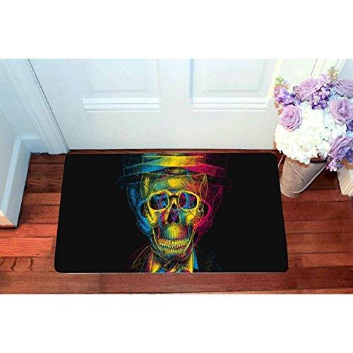 Trippy Gentry Skull Style Square Doormat Non Slip Entrance Door Mat Toilet Floor Mats Bath Rugs 15.7