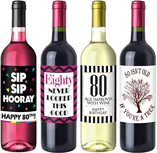 Chic 80th Birthday Wine Label Pack