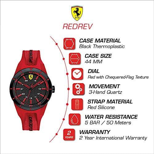 Ferrari Kid RedRev Stainless Steel Quartz Watch with Rubber Strap red 20 Model 0840005