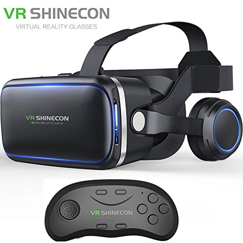Vritual Reality Shinecon 6.0 Bluttooth Headset VR Glasses Helmet 3D Box For 4.5-6.0 Smartphones With Bluetooth Controller