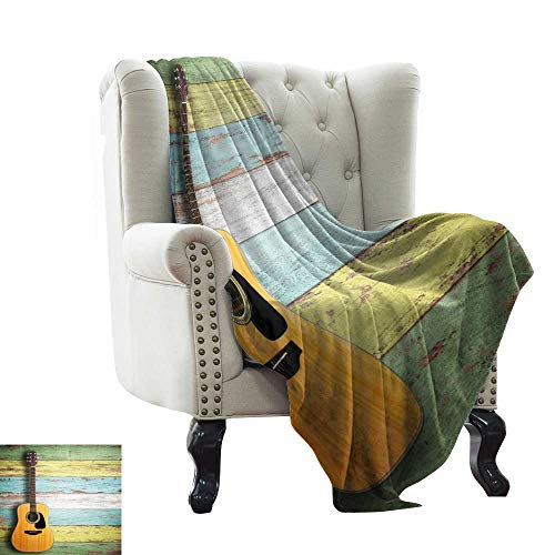 - Littletonhome Super Soft BlanketsAcoustic Guitar on Colorful Painted Aged Wooden Planks Rustic Country Decor All Season for Couch or Bed 36