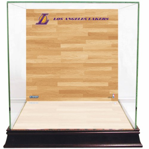 (NBA Los Angeles Lakers Glass Basketball Display Case with Team Logo on Court Background)