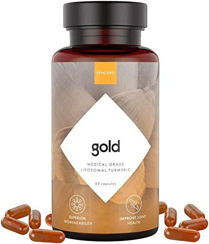 SYNCHRO Gold Medical-Grade Liposomal Turmeric 60ct Capsules Whole-Plant Extract, Nano-Encapsulation Delivery Curcumin Black Pepper Piperine Supplement