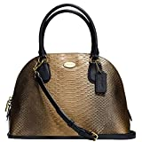 New Authentic COACH Metallic Gold Snake Cora Dome Satchel Crossbody
