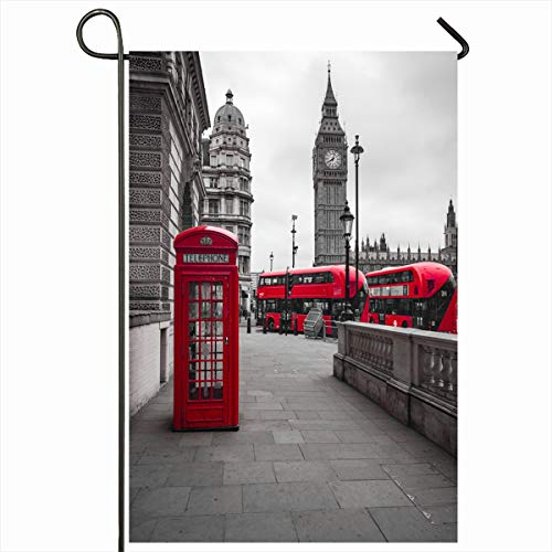 Ahawoso Garden Flag 12x18 Inches Big Red Buses Phone Box British Ben London Booth Britain Design Telephone Decorative Seasonal Double Sided Home House Outdoor Yard Sign