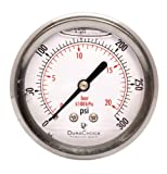 "2-1/2"" Liquid Filled Pressure Gauges - Stainless Steel Case, Brass, 1/4"" NPT, Center Back Mount Connection 0-300PSI"