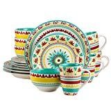 Euro Ceramica Alecante Collection Fall-Inspired 16 Piece Ceramic Dinnerware Set, Service for 4, Multicolor For Sale