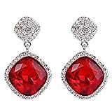 ruby crystal earrings - BriLove Women's Bohemian Boho Wedding Bridal Crystal Square Infinity Figure 8 Dangle Earrings Ruby Color Silver-Tone