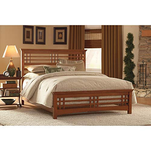 Fashion Bed Group Avery Complete Bed with Wood Frame and Mission Style Design, Oak Finish, Queen