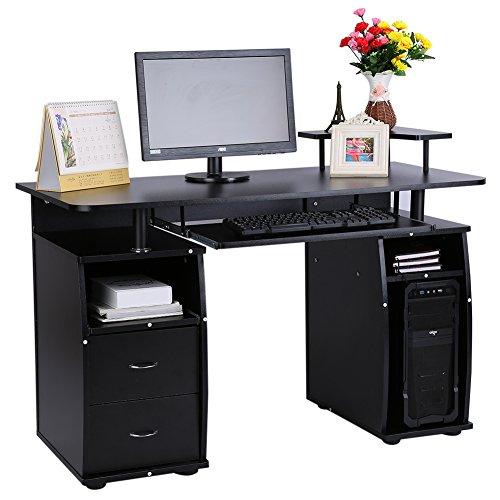 Multifunktionale Computertische Desktop Arbeitstische Schreibtische mit Doppel Schublade Schwarz