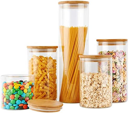COPDREL Glass Food Storage Jars Containers, Glass Storage Jar with Airtight Bamboo Lids Set of 5 Kitchen Glass Canisters For Coffee, Flour, Sugar, Candy, Cookie, Spice and More