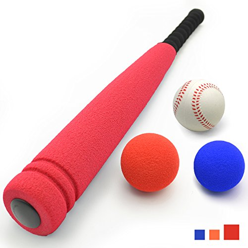 (CELEMOON 21-inch Kids Soft Foam Baseball/Tball Set Toys, Different Colored Balls, Carry/Organize Bag Included, for Kids Over 3 Years Old (Baseball Bat))