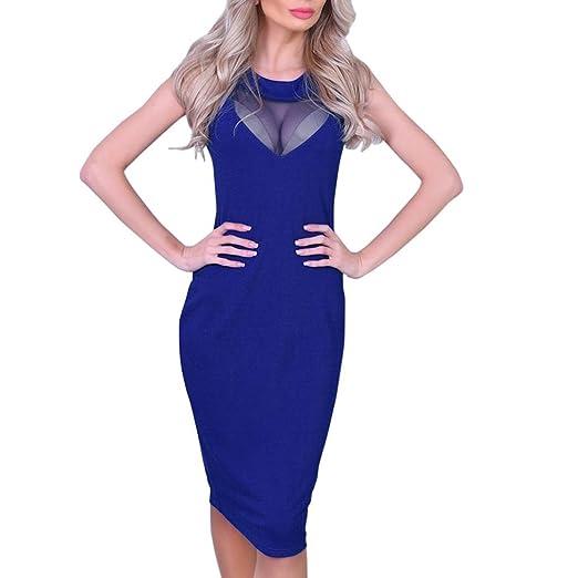 19e6c62f74 HODOD Sexy Fashion Blue Women s Bodycon Ladies Club Party Sleeveless  Perspective Mini Dress L