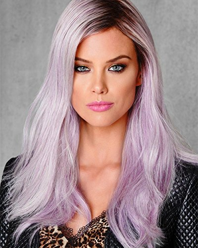 Beauty : ELIM Ombre Lace Front Wig Lavender Purple Hair Wigs Straight Synthetic Lace Wigs for Women 24 Inch Long Glueless and Natural Looking Z098