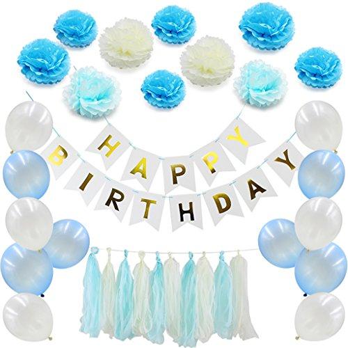 Sixinu 41pcs/set Happy Birthday Banner Tissue Paper Balloon Tassel Garland Party Decor