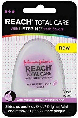 Reach Total Care Floss with Listerine, Fresh Mint, 30 Yards (Pack of 4) by Reach