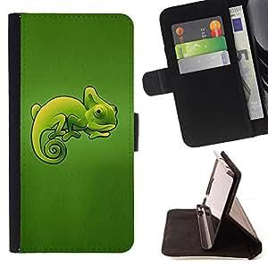 - Green Chameleon Cute Lizard/ Personalizada del estilo del dise???¡¯???¡Ào de la PU Caso de encargo del cuero del tir???¡¯????n del s - Cao - For HTC One