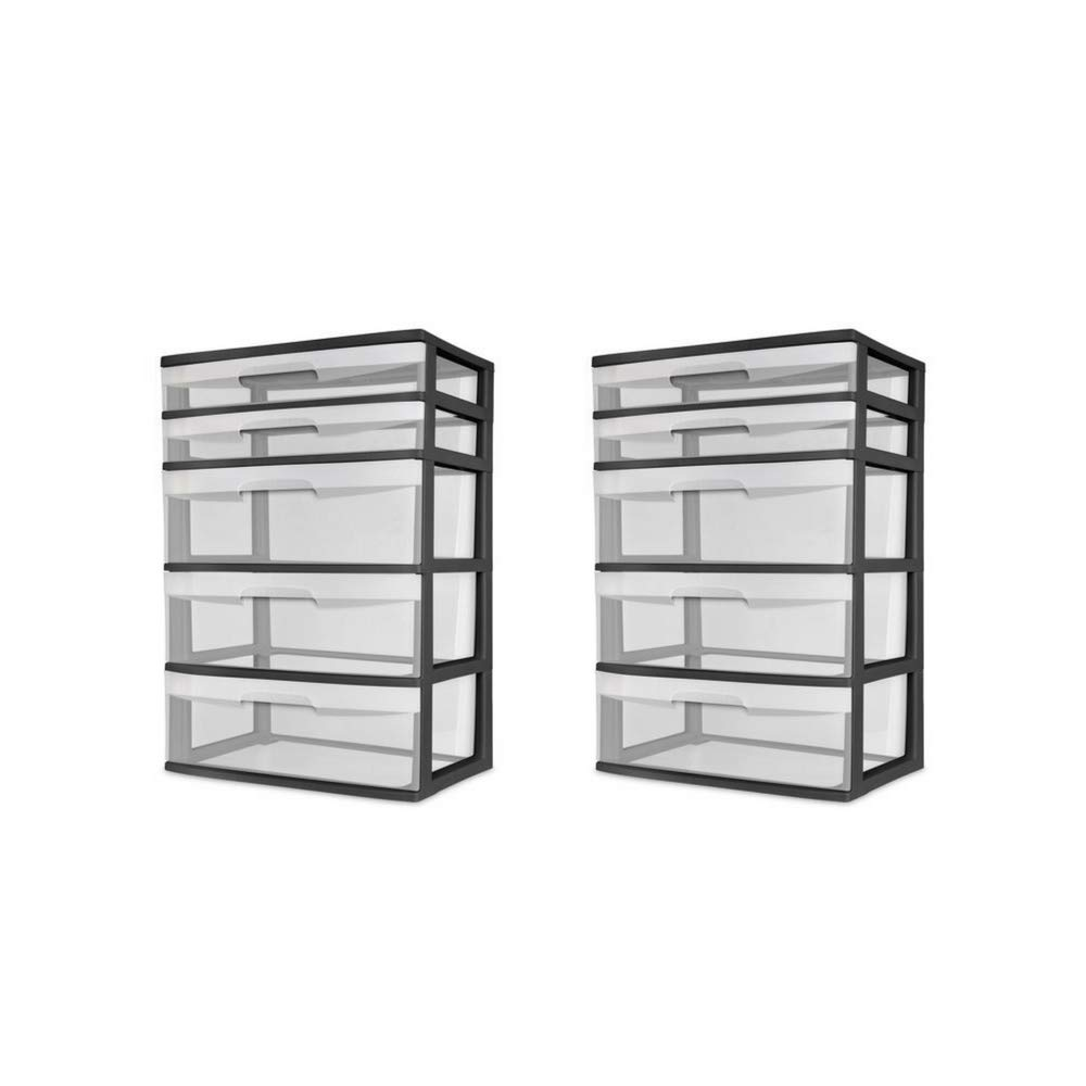 STERILITE- 5-Drawer Wide Tower See-Through Drawers. Keep Your Rooms Neat Tidy This 5 Drawer Tower. Suitable Office, Kids Rooms,Garage, Anywhere. Plastic Storage Tower is STU (2 Pack)