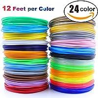 3D Pen/3D Printer Filament,1.75mm PLA filament Pack of 24 Different Colors,High-Precision Diameter Filament, Each color 12 Feet, total 288 Feet Lengths by MIKEDE