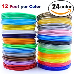 3D Pen/3D Printer Filament,1.75mm PLA filament Pack of 24 Different Colors,High-Precision Diameter Filament, Each color 12 Feet, total 288 Feet Lengths by MIKEDE