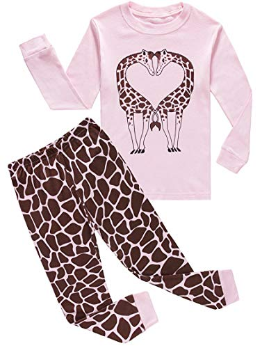Family Feeling Giraffe Big Girls Boys Long Sleeve Pajamas Sets 100% Cotton Sleepwear Kids Pjs Size 8 -