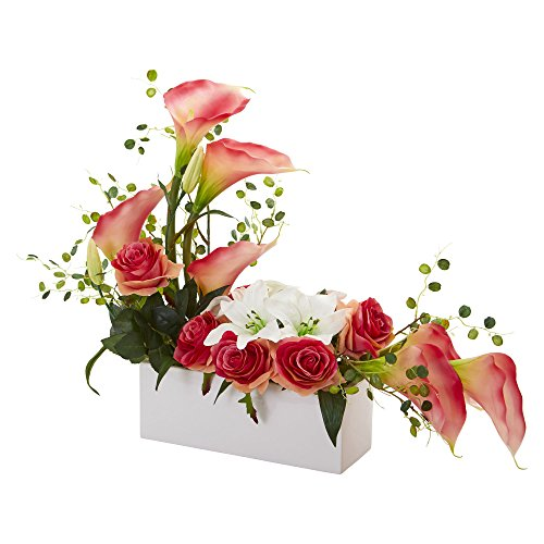 Nearly Natural 1639-PK Mixed Lily and Rose Artificial Silk Arrangements, Pink