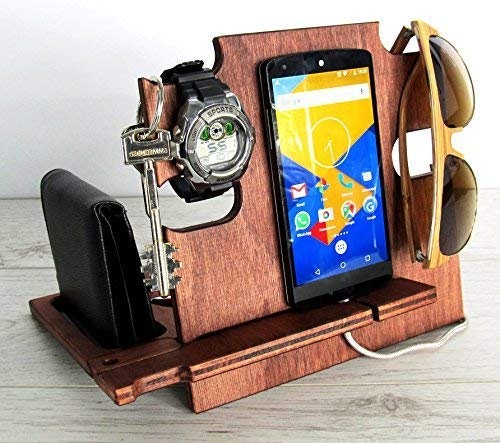 Docking Station Mahogany, Gift for Him, Charging Station, iPhone Dock, iPhone Stand, Cell Phone Stand, Desk Organizer, Handmade in Italy, Italian Handicraft, Gift For Dad, Anniversary