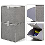 EZOWare 2-Tier Storage Organizer, Collapsible Cube Basket Bins Boxes with Pull Down Opening for Home, Nursery Home, and Office - Gray